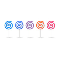 swirl spiral lollipops candy set isolated on white vector image vector image