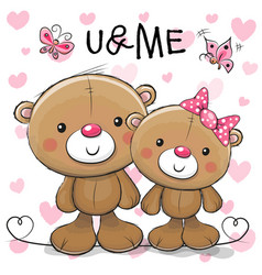 Two cute cartoon teddy bears vector