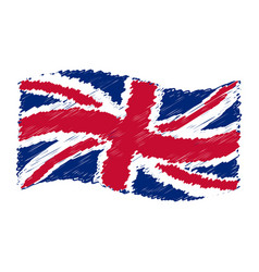Uk flag - union jack - grunge pencil drawing vector