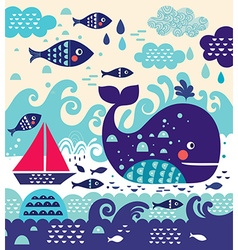 Whale background vector