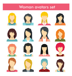 Woman avatars set in flat style vector
