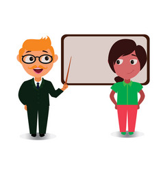 young couple teaching lesson with black board vector image vector image