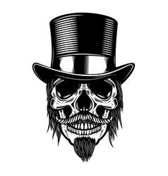 zombie skull in vintage hat design element for vector image