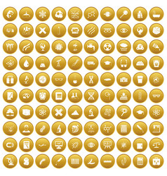 100 microscope icons set gold vector
