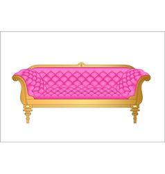A pink vintage sofa on white vector