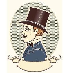 Elegant gentleman in a top black hat vector