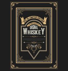 Old vintage whiskey label design vector