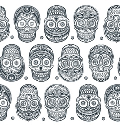 Vintage ethnic hand drawn human skull seamless vector