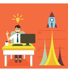 Business optimization and business growth graph vector