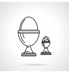 Boiled eggs black line icon vector