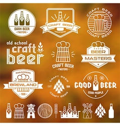 Craft beer brewery emblems blurred vector