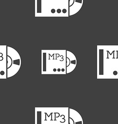 Mp3 player icon sign seamless pattern on a gray vector