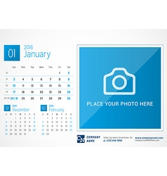 Desk calendar 2016 print template with place for vector