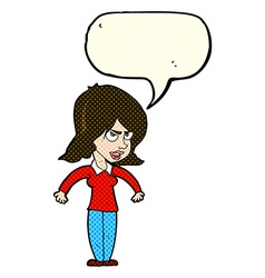 Cartoon mean woman with speech bubble vector