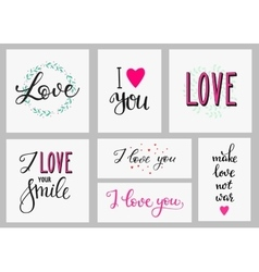 Romantic love inspiration lettering set vector