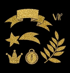 Collection of the golden elements luxury design vector image