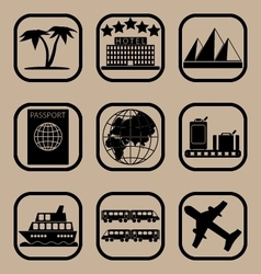 Tourism icons set vector