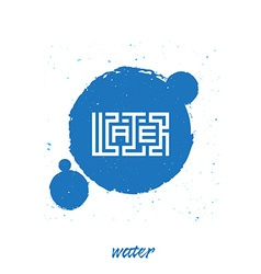 Inscription water on blue water color paint vector