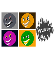 Assembly of flat icons on theme evil emotions vector