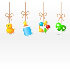 Background with hanging babys things vector image vector image