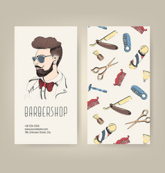 Barbershop flyer with barber tools and trendy man vector