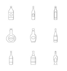 Bottle packaging icon set outline style vector