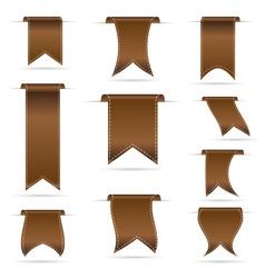 Brown hanging curved ribbon banners set eps10 vector