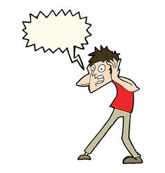 cartoon man panicking with speech bubble vector image vector image