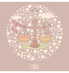 Cartoon of the scales Libra vector image