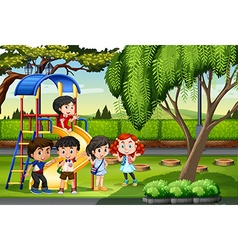 Children playing at the playground vector