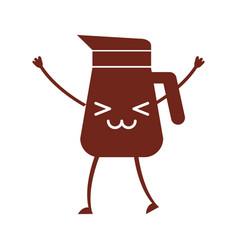 Coffee teapot kawaii character vector
