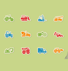 construction machines icon set vector image