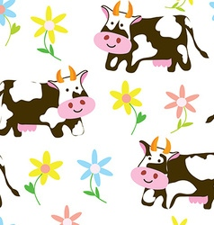 Cows and flowers - funny seamless pattern vector