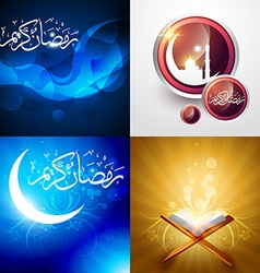 creative set of ramadan festival background vector image