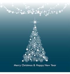 Dark blue merry christmas greeting light tree vector