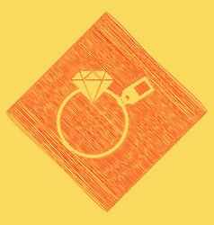 Diamond sign with tag red scribble icon vector