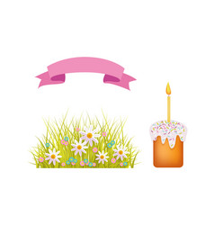 Easter holiday spring objects set icon vector