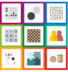 Flat icon entertainment set of ace jigsaw vector