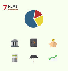 Flat icon finance set of bank graph parasol and vector