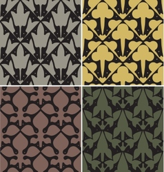 Four victorian seamless patterns vector