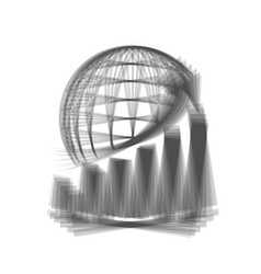 Growing graph with earth gray icon shaked vector