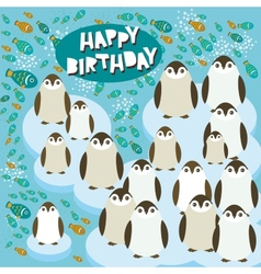 Happy birthday card funny penguins on an ice floe vector image