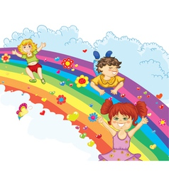 Kids on rainbow vector