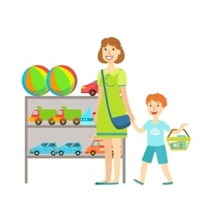 Mother and child shopping for toys shopping mall vector