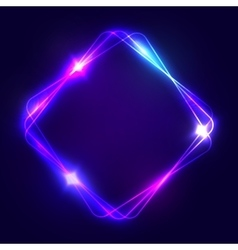 Neon sign square glowing light banner with space vector