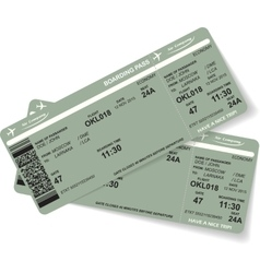 Pattern of two airline boarding pass ticket vector image