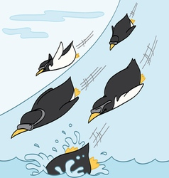 Penguins Sliding Downhill vector image vector image