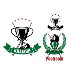 Pool emblems with trophies and balls vector