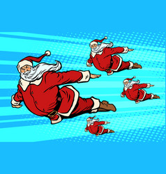 santa team is flying in the sky vector image vector image