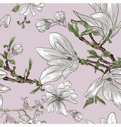 Seamless floral pattern with magnolias vector